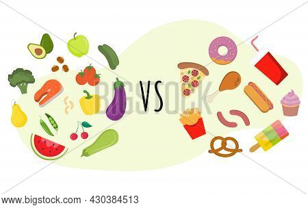 Nutritional Balanced Meal Vs Fast Food Cholesterol. Healthy Food Vs Fastfood. Diet Choice. The Conce