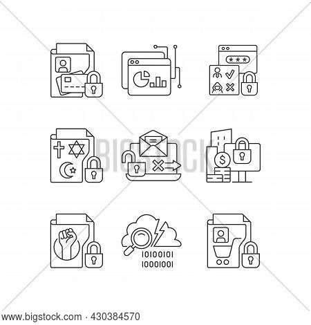 Personal Information Linear Icons Set. Financial Data. Analytical Tool. Authorization. Religious Bel