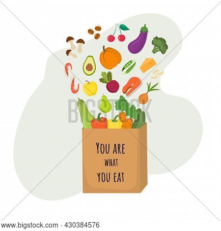You Are What You Eat. Shopping Bag And Healthy Food. Proper Shopping. The Concept Of Proper Nutritio