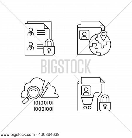 Maintain Information Security Linear Icons Set. Employee Files. Ethnic Origin. Data Breach Detection