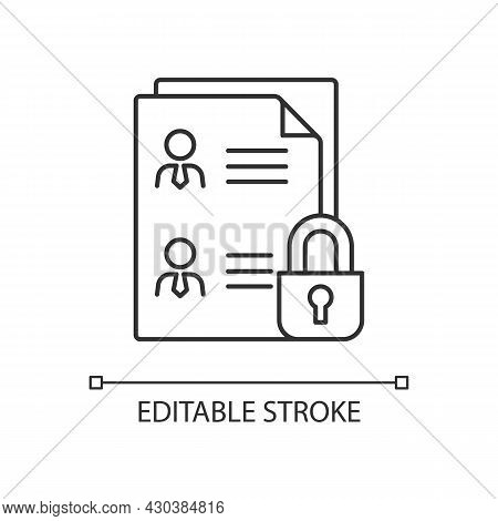 Employee Data Protection Linear Icon. Safeguarding Personal Data In Workplace. Personnel Files. Thin