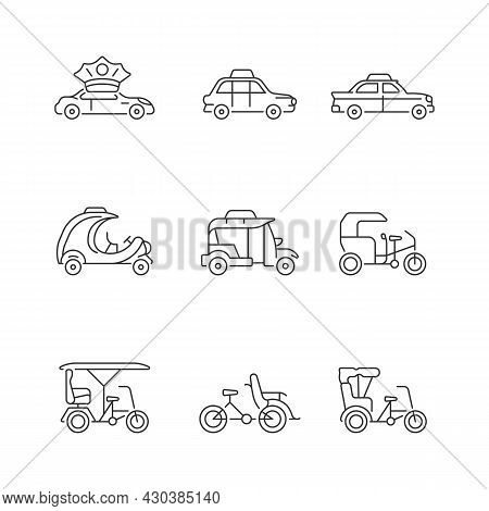 Taxicab Types Linear Icons Set. Personal Driver. London Cab. Retro Car. Coco Taxi. Motorized Ricksha