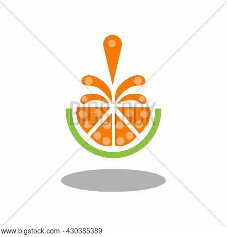 Vector Illustration Of Orange Slices, Orange Juice Splattering Upwards, Great For Fruit Shop Icons A