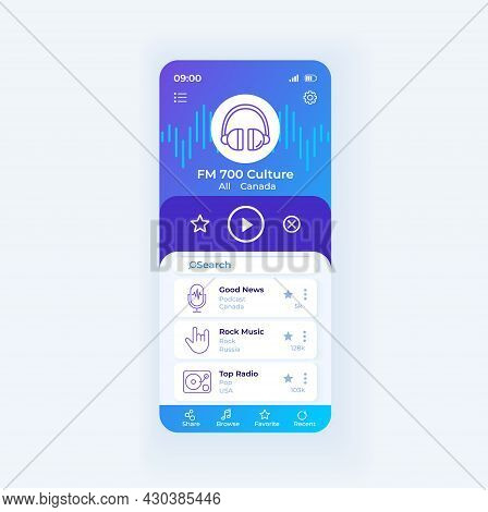 Radio Application Smartphone Interface Vector Template. Mobile App Page Design Layout. Radio Broadca
