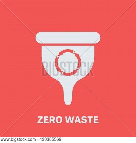 Reusable Zero Waste Female Menstrual Cup Icon. Female Organic Product Illustration. Eco Friendly Men