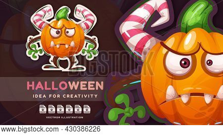 Cartoon Character Horror Halloween Pumpkin - Crazy Sticker. Vector Eps 10
