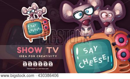 Cartoon Character Funny Rat Show Tv - Pretty Sticker.