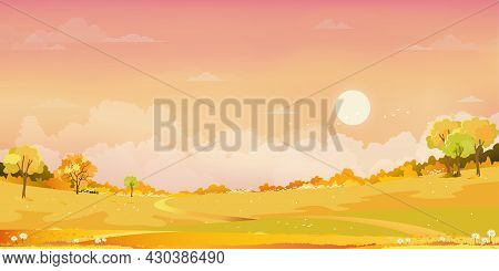 Autumn Rural Fields Landscape With Mountain, Orange Sky And Clouds Background,panorama Peaceful Natu
