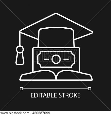 Education Loan White Linear Icon For Dark Theme. Student Credit. Scholarship For College. Thin Line