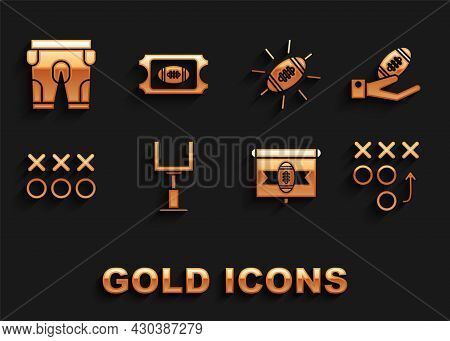 Set American Football Goal Post, Football On Hand, Planning Strategy Concept, Tv Program, Shorts And