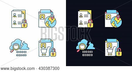 Maintain Information Security Light And Dark Theme Rgb Color Icons Set. Employee Files. Data Breach