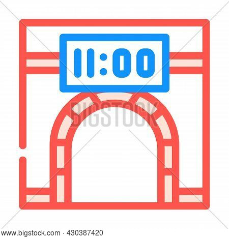 Metro Underground Clock Color Icon Vector. Metro Underground Clock Sign. Isolated Symbol Illustratio