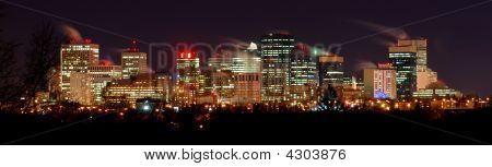 Downtown Winter Night In Edmonton