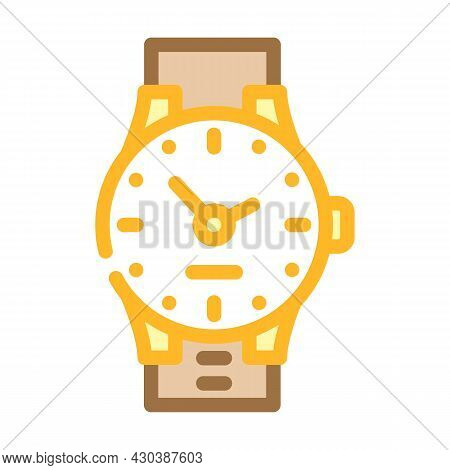 Wrist Clock Color Icon Vector. Wrist Clock Sign. Isolated Symbol Illustration