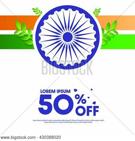 Vector Illustration Of 26th January Republic Day Offer Sale Background Template Design With 50% Disc