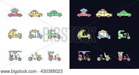 Taxicab Types Light And Dark Theme Rgb Color Icons Set. Personal Driver. London Cab. Retro Car. Rick