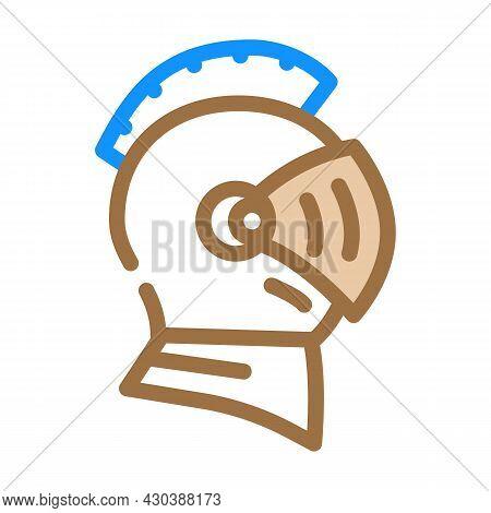 Knight Helmet Suit Armour Fairy Tale Color Icon Vector. Knight Helmet Suit Armour Fairy Tale Sign. I