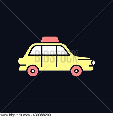 London Cab Rgb Color Icon For Dark Theme. Hackney Carriage. Minicab Service. Public Transportation.