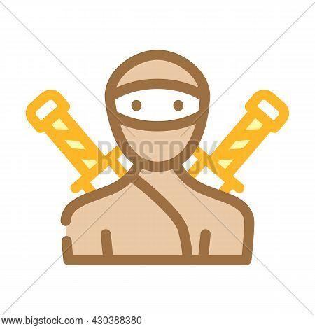 Ninja Fantasy Character Color Icon Vector. Ninja Fantasy Character Sign. Isolated Symbol Illustratio