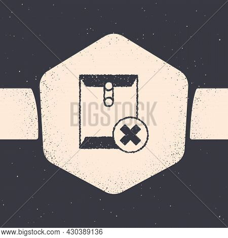 Grunge Delete Envelope Icon Isolated On Grey Background. Delete Or Error Letter. Cross On Message. R