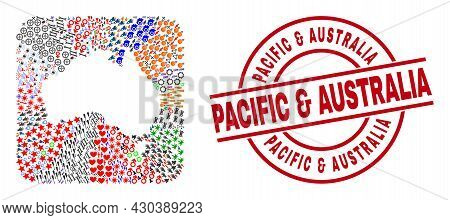 Vector Mosaic Australia Map Of Different Symbols And Pacific  And  Australia Seal Stamp. Mosaic Aust