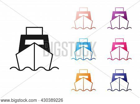 Black Cargo Ship With Boxes Delivery Service Icon Isolated On White Background. Delivery, Transporta