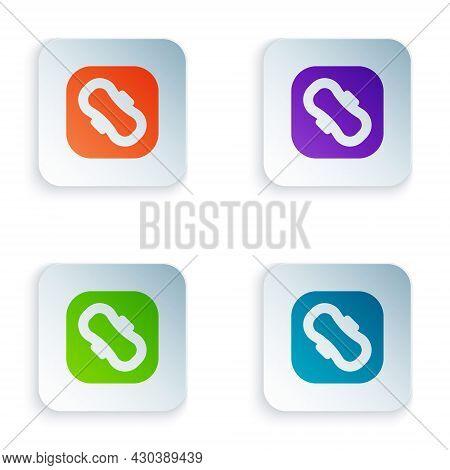 Color Menstruation And Sanitary Napkin Icon Isolated On White Background. Feminine Hygiene Product.
