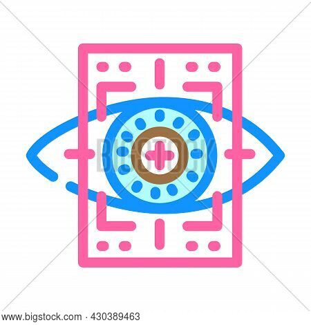 Eye With Mesh Ophthalmology Color Icon Vector. Eye With Mesh Ophthalmology Sign. Isolated Symbol Ill