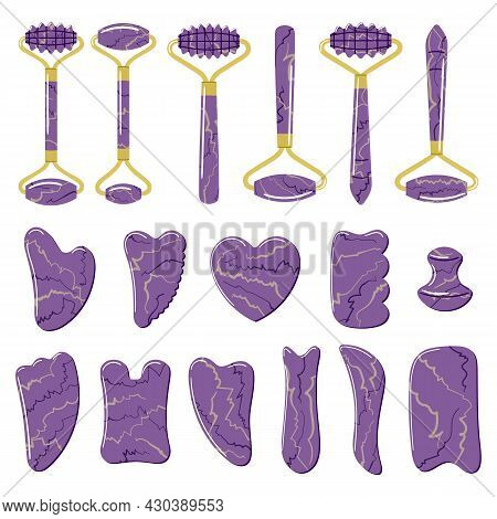 Big Set Of Different Gua Sha Stones And Rollers Are Made Of Purple Amethyst. Facial Gua Sha Scraping