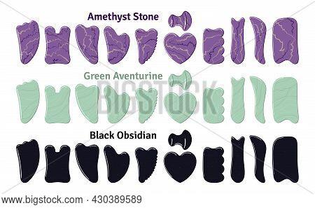 Big Set Of Different Gua Sha Stones Are Made Of Aventurine, Amethyst, Obsidian. Facial Gua Sha Scrap