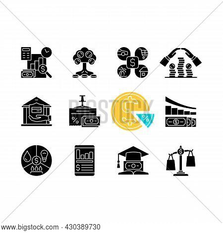 Financial Literacy Black Glyph Icons Set On White Space. Compare Prices. Plan Budget. Money Manageme