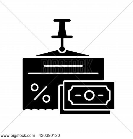 Fixed Expenses Black Glyph Icon. Money Planning. Business Expenditure. Financial Literacy. Understan
