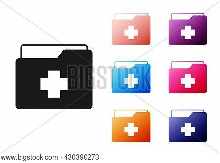 Black Medical Clipboard With Clinical Record Icon Isolated On White Background. Prescription, Medica