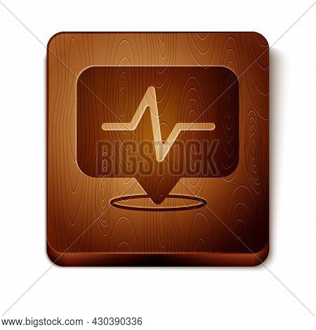 Brown Heart Rate Icon Isolated On White Background. Heartbeat Sign. Heart Pulse Icon. Cardiogram Ico
