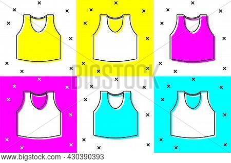 Set Undershirt Icon Isolated On Color Background. Vector