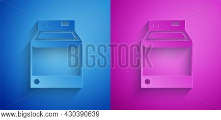 Paper Cut Washer Icon Isolated On Blue And Purple Background. Washing Machine Icon. Clothes Washer -
