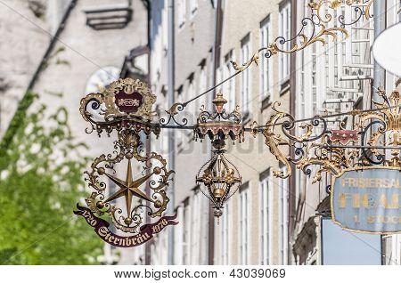 Getreidegasse Shopping Street In The Old-town Of Salzburg, Austr