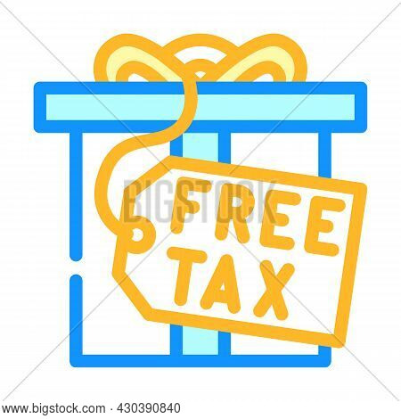 Gift Tax Color Icon Vector. Gift Tax Sign. Isolated Symbol Illustration