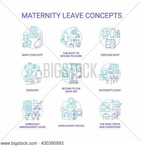 Maternity Leave Related Blue Gradient Icons Set. Employee Rights And Allowment Idea Thin Line Color