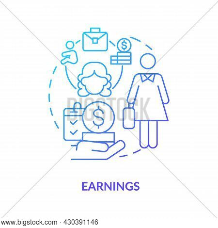 Earnings Blue Gradient Icon. Maternity Leave Payment Abstract Idea Thin Line Illustration. Statutory