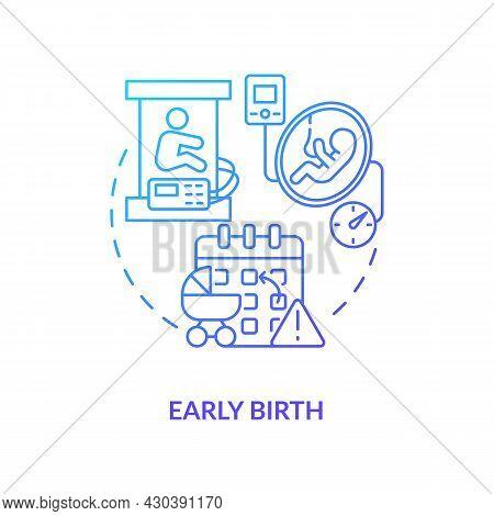 Early Birth Blue Gradient Icon. Premature Childbirth Abstract Idea Thin Line Illustration. Statutory