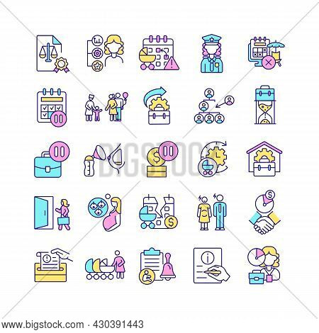 Maternity Leave Related Rgb Color Icons Set. Work Absence To Take Care After Newborn. Prenatal And P