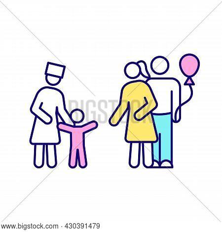 Adoption Rgb Color Icon. Pair Get Home Child From Orphanage. Adopt Newborn, Toddler. Parenthood. Ado