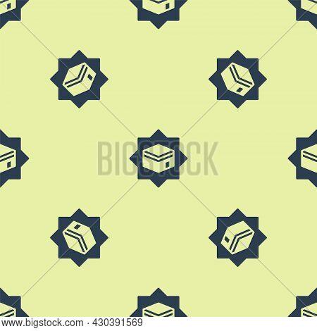 Blue Kaaba Mosque Icon Isolated Seamless Pattern On Yellow Background. Kaaba Hajj Mecca Pray Pilgrim