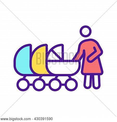 Mother With Multiple Baby Carriages Rgb Color Icon. Multiple Births. Twin, Triplet Birth. Maternity