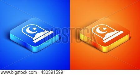 Isometric Muslim Cemetery Icon Isolated On Blue And Orange Background. Islamic Gravestone. Square Bu