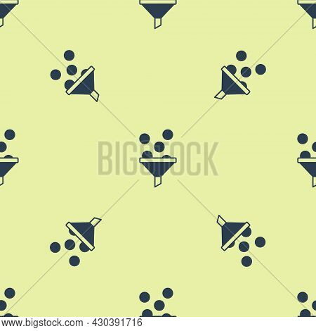 Blue Lead Management Icon Isolated Seamless Pattern On Yellow Background. Funnel With Money. Target