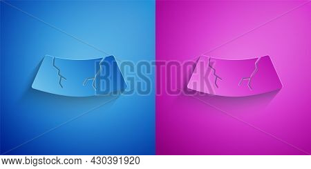 Paper Cut Broken Windshield Cracked Glass Icon Isolated On Blue And Purple Background. Paper Art Sty