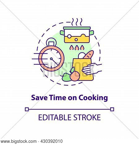 Save Time On Cooking Concept Icon. Spend Less Time On Cooking Abstract Idea Thin Line Illustration.