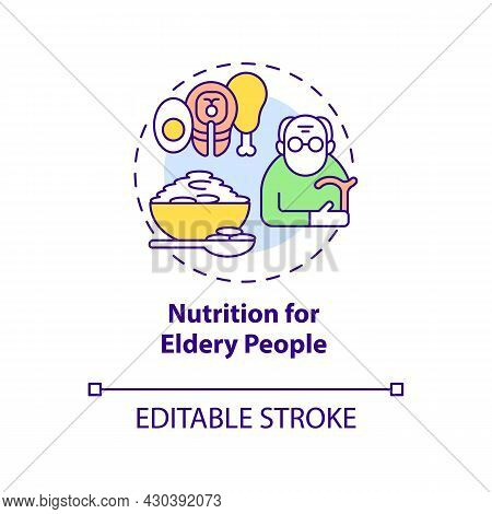 Nutrition For Elderly People Concept Icon. Balanced Diet Abstract Idea Thin Line Illustration. Meal